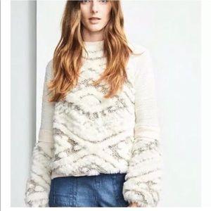 Anthropologie Amadi faux fur sweater large